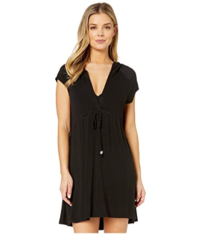 DOTTI Resort Solids Raglan Hoodie Dress Cover-Up (Black) Women