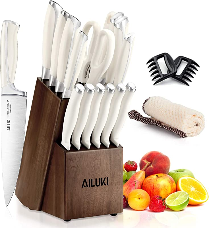Knife Set Kitchen Knife Set With Block AILUKI 19 Pieces Stainless Steel Knife Set Ergonomic Handle For Chef Knife Set With Gift Box Ultra Sharp Best Choice For Cooking White