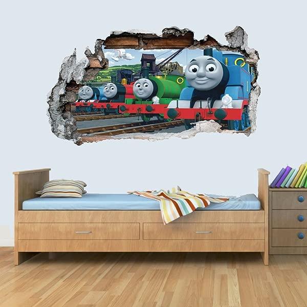 Train Friends 3D Smashed Wall Art Decal Vinyl Sticker Boys Girls Bedroom Trains L