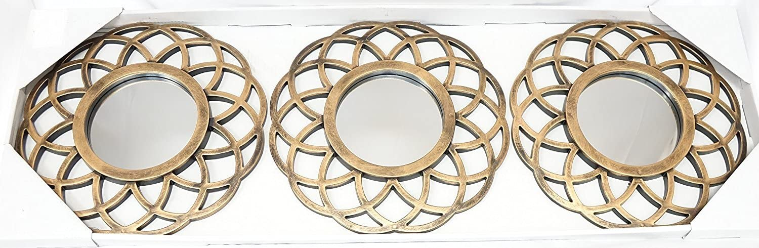 Beige Moroccan All American Collection New 3 Piece Decorative Mirror Set Wall Accent Display