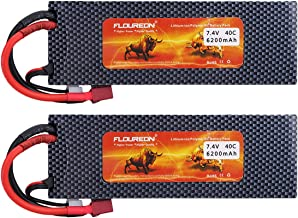 Floureon 2S 7.4 V Lipo Battery 40C 6200mAh Li-Polymer Lipo RC Battery Pack with XT60 Plug Connector for RC Airplane RC Helicopter RC Car