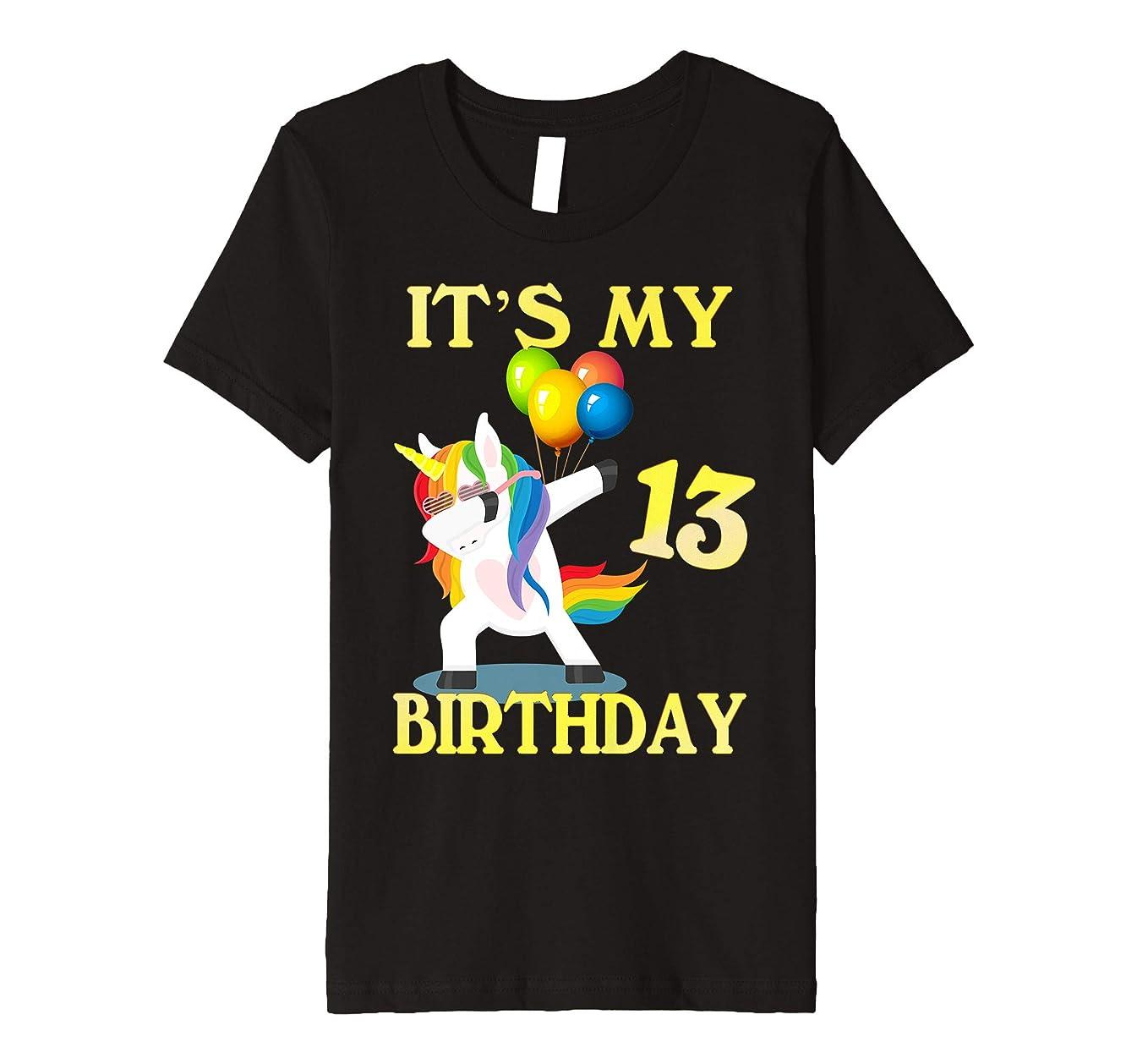Kids Gift For 13 Years Old Shirt 13th It's My Birthday Unicorn
