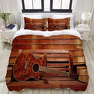"""Mokale Bedding Duvet Cover 3 Piece Set - Brown Guitar in Wooden Stripes - Decorative Hotel Dorm Comforter Cover with 2 Pollow Shams - King 104""""X90"""""""