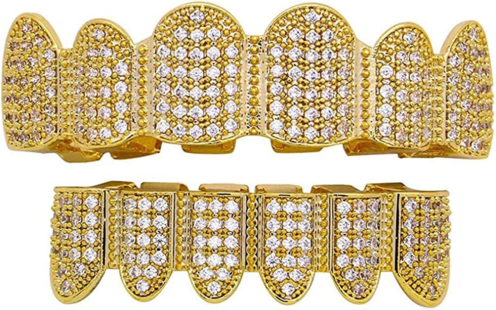 canjoyn 18K Teeth Gold Grillz Pave CZ Top Bottom Grilla for Men Women Micropave Lab Simulated Diamonds Grillz+2 Extra Molding Bars