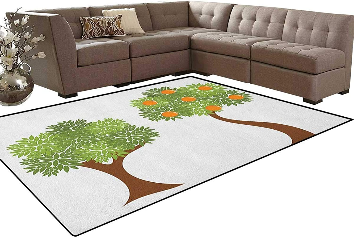 Two Trees with Fresh Foliage Leaves and oranges Nature Design Floor Mat Rug Indoor Front Door Kitchen and Living Room Bedroom Mats Rubber Non Slip