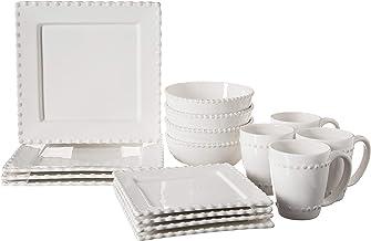American Atelier Bianca Bead 16-Piece Ceramic Square Dinnerware Set -4 Dinner & 4 Salad Plates, 4 Bowls, 4 Mugs – Gift for...