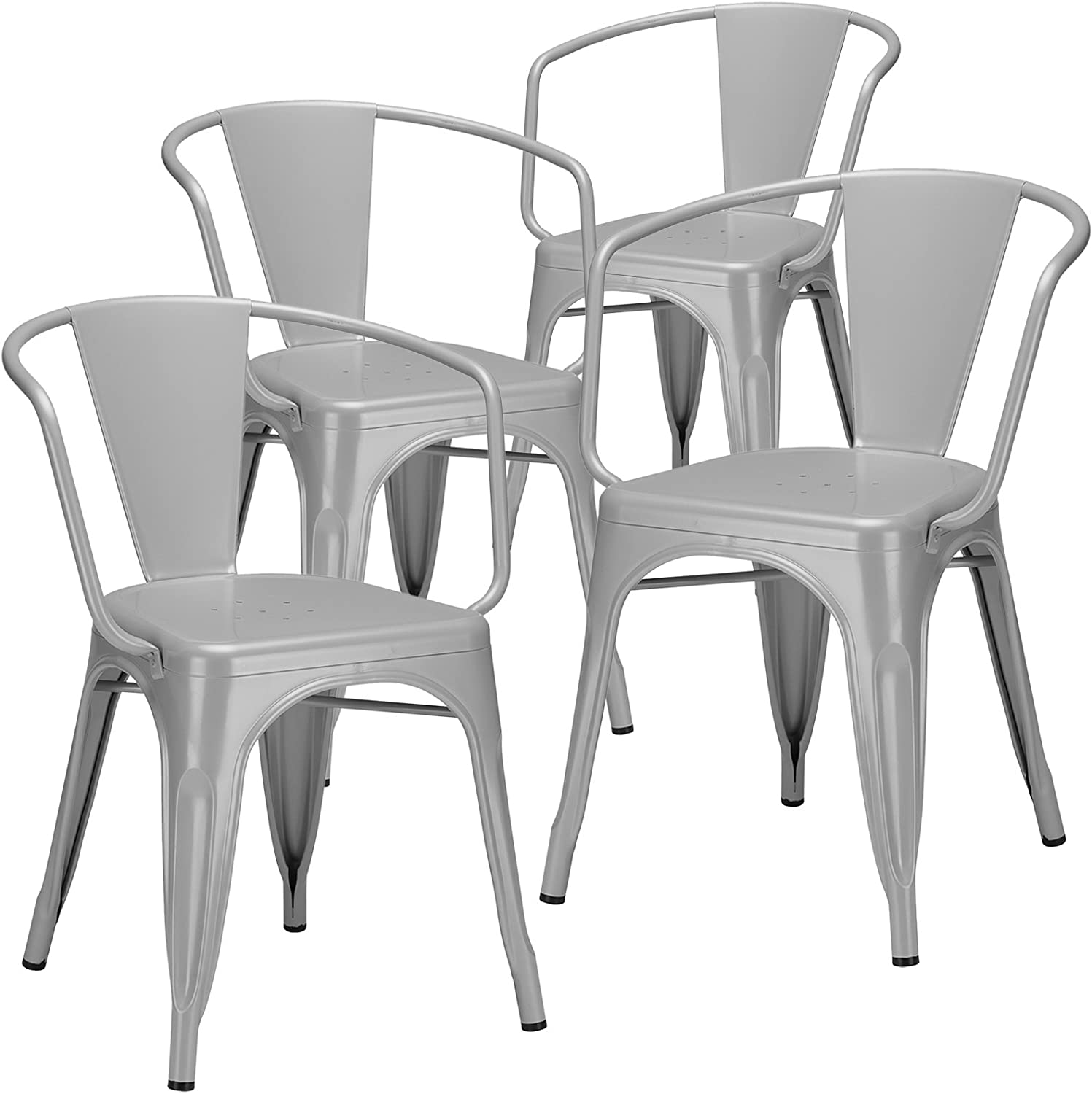 Poly and Bark Trattoria Arm Chair in Grey (Set of 4)