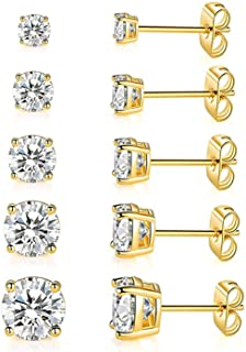 18K Yellow Gold Plated Round Clear Cubic Zirconia Stud Earring Set for Women (6 Pairs)