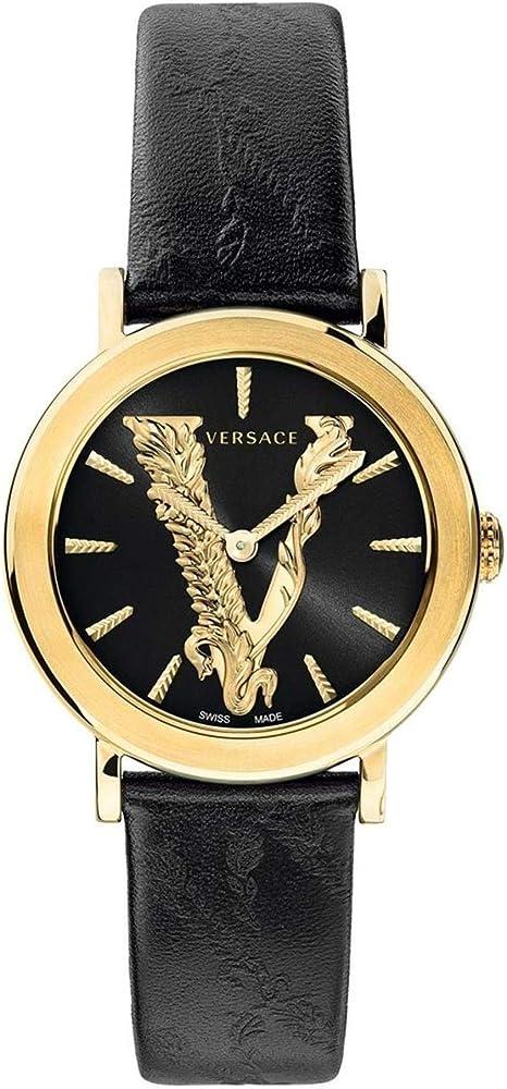 Versus versace orologio da donna cassa in acciaio 316l placcato oro e cinturino in vera pelle VEHC00119