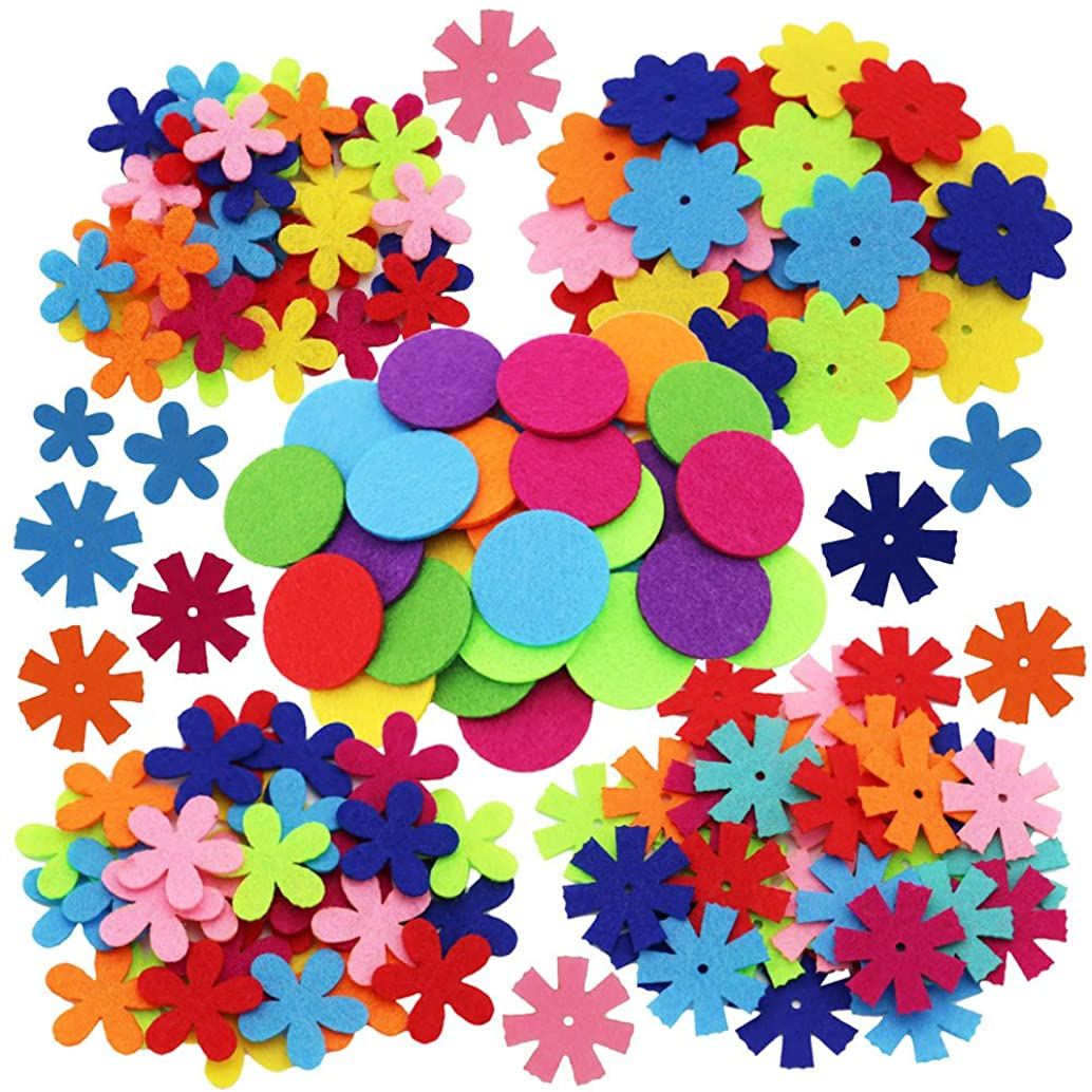 MAMUNU 4 Shapes 150pcs Craft Felt Flowers Mixed Color for The DIY Craft Decoration of Clothes, Bags, Shoes, Etc