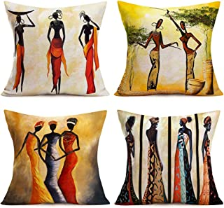Royalours Throw Pillow Covers African Tribe Ethnic Series Cotton Linen Vintage Tribe Lady..