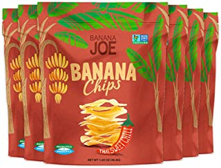 Banana Joe Chips | Prebiotic + Probiotic | Gluten Free + Non GMO | Increase Protein Absorption | (6-Pack) (Thai Sweet Chili)