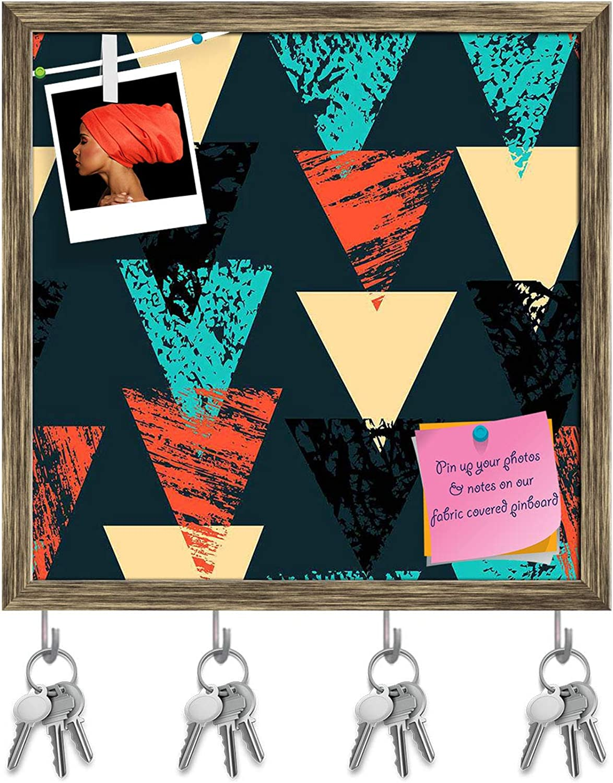 Artzfolio Triangled D4 Key Holder Hooks   Notice Pin Board   Antique golden Frame 20 X 20Inch
