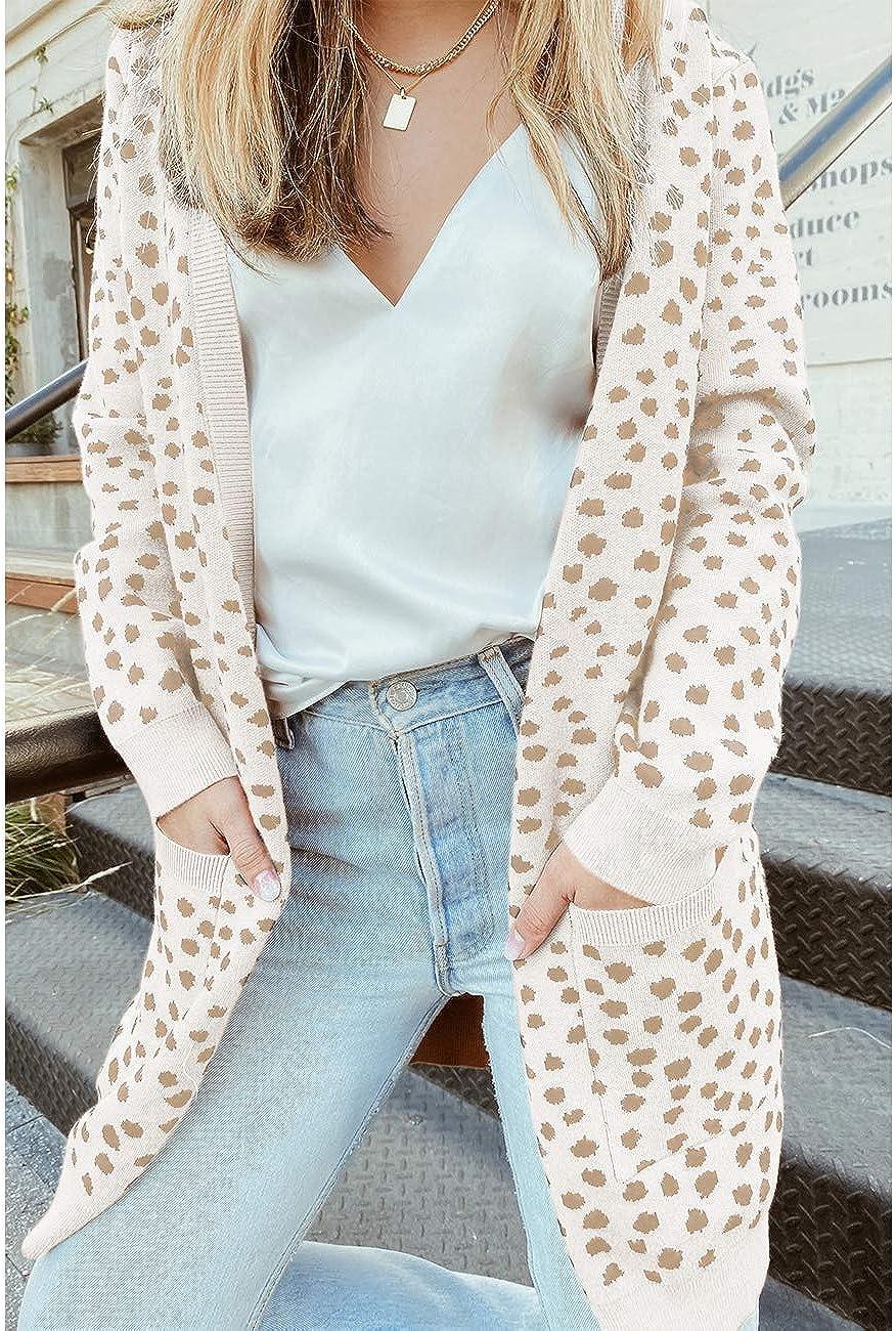 MEROKEETY Women's Open Front Knit Cardigan Winter Fall Sweater Dots Long Sleeve Coat Outwear