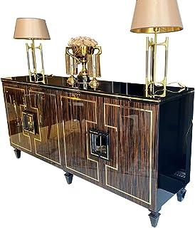 Casa Padrino aparador Art Decó marrón Oscuro/Negro/Oro 220 x 55 x A. 104 cm - Armario Noble con 4 Puertas y Tapa de Vidrio...