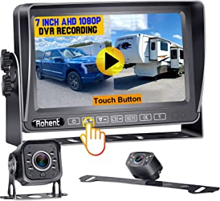 $129 » RV Backup 2 Cameras, 7 Inch Touch Button Monitor Built in DVR Rear View Camera with Infrared Night Vision for RV Truck Tra...