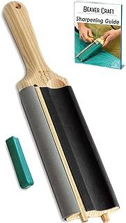 BeaverCraft LS5P1 Wood Carving Strop Wood Carving Gouge Hook Knife Sharpening Honing Tools Strop Stropping Kit Leather Paddle Strop Spoon Carving Tools Sharpening Kit Sharpener with Polishing Compound