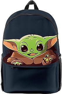 MILAOSHU Yoda Baby 3D Cartoon Anime Impreso Mochila Star Wars Mandalorian Baby Yoda Juego Mochila De Viaje De Ocio