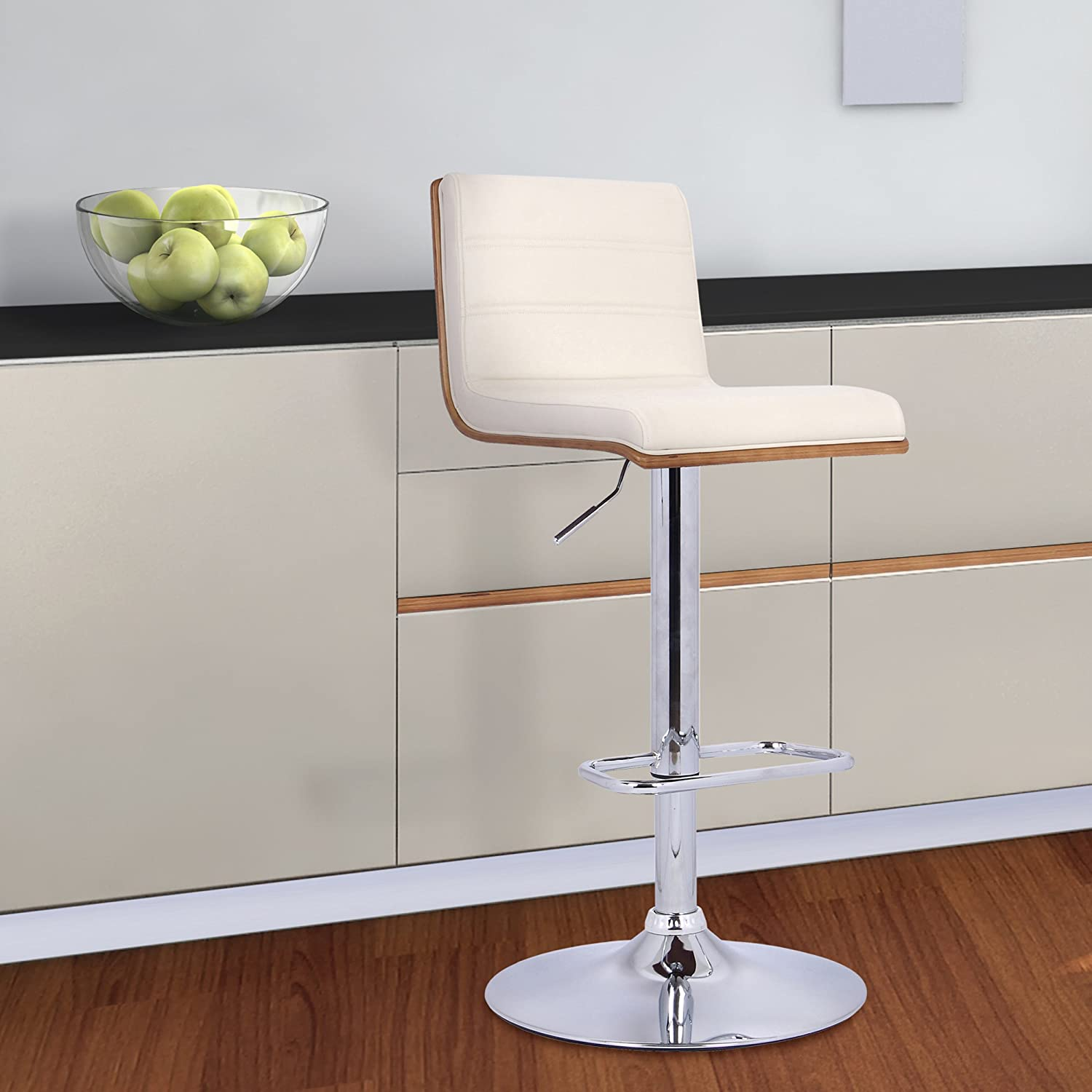 Armen Living LCAUBAWACR Aubrey Barstool in Cream Faux Leather, Walnut Wood and Chrome Finish