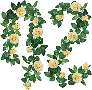 Supla 2 Pack Total 11.4` Long Rose Garlands Artificial Rose Vine Flowers Plants Peach Rose Garland Hanging Rose Ivy Garlands for Baby Shower Birthday Party Wedding Arch Backdrop Garden Decor(Peach)
