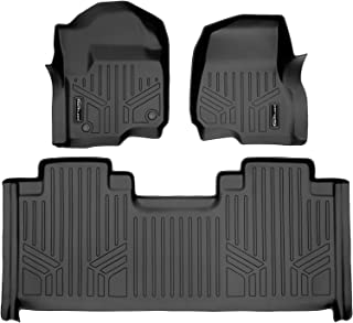 SMARTLINER Floor Mats 2 Row Liner Set Black for 2017-2019 Ford F-250/F-350 Super Duty SuperCab with 1st Row Bucket Seats