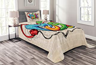 Ambesonne Music Bedspread, Illustration of Graffiti Style Lettering Headphones Hip Hop Theme on Beige Bricks, Decorative Quilted 2 Piece Coverlet Set with Pillow Sham, Twin Size, Tan Green