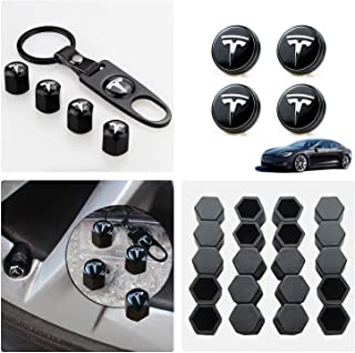 Tesla Model 3 / X/S Aero Wheel Cap Kit Set of 28,Wheel Center Hub Caps Covers with LED Light & Lug Nut Bolt Cover Caps & Tire Valve Cap Cover Logo Styling Combined Package,Blue Light