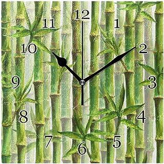 Bambumönster väggklocka tyst icke-tickande fyrkantig konstmålning klocka för hem kontor skoldekor