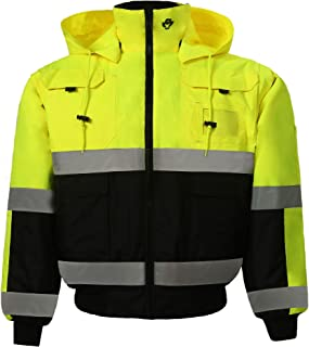 Safety Depot Safety Jacket Class 3 ANSI Approved 8 Pockets, Reversible Clear ID Pocket, Detachable Hood & 4 Pen Divider slots 350C (Lime, Large)