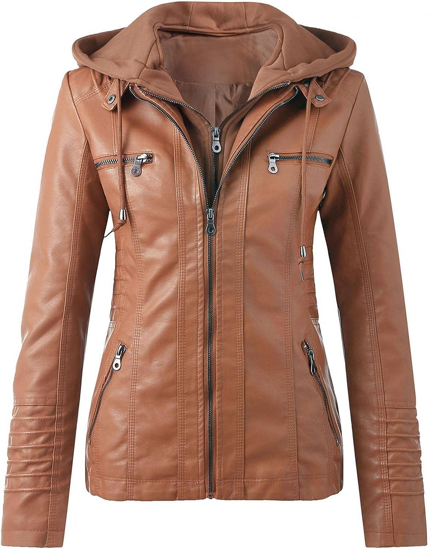 Women's Faux Leather Jackets, Zip Up Motorcycle Short PU Moto Biker Outwear Plus Size Fitted Slim Hood Coat