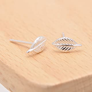 925 Sterling Silver Small Tiny Tree Leaf Studs Earrings