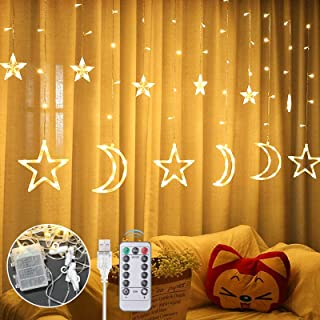 Anpro LED Curtain Light, 12pcs Moon Star 138 LEDs Curtain Light, with Remote Control 8 Light Mode Timing USB and Battery B...