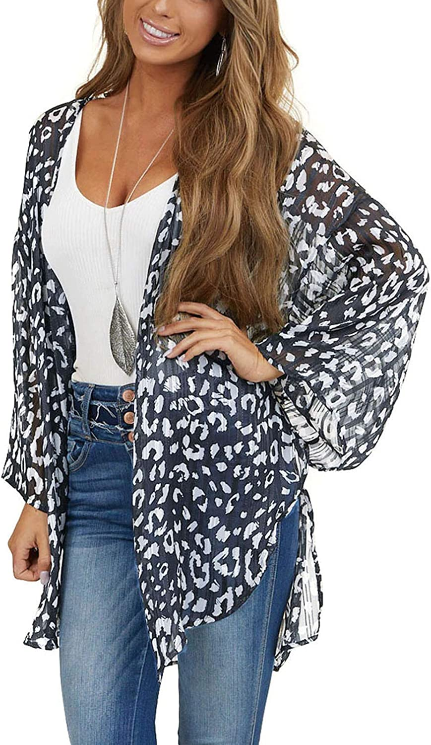 Blouse and Tops Shirt for Women, Women Tops Fashion Printing Cardigan Swimsuit Beach Cover-Up Coat