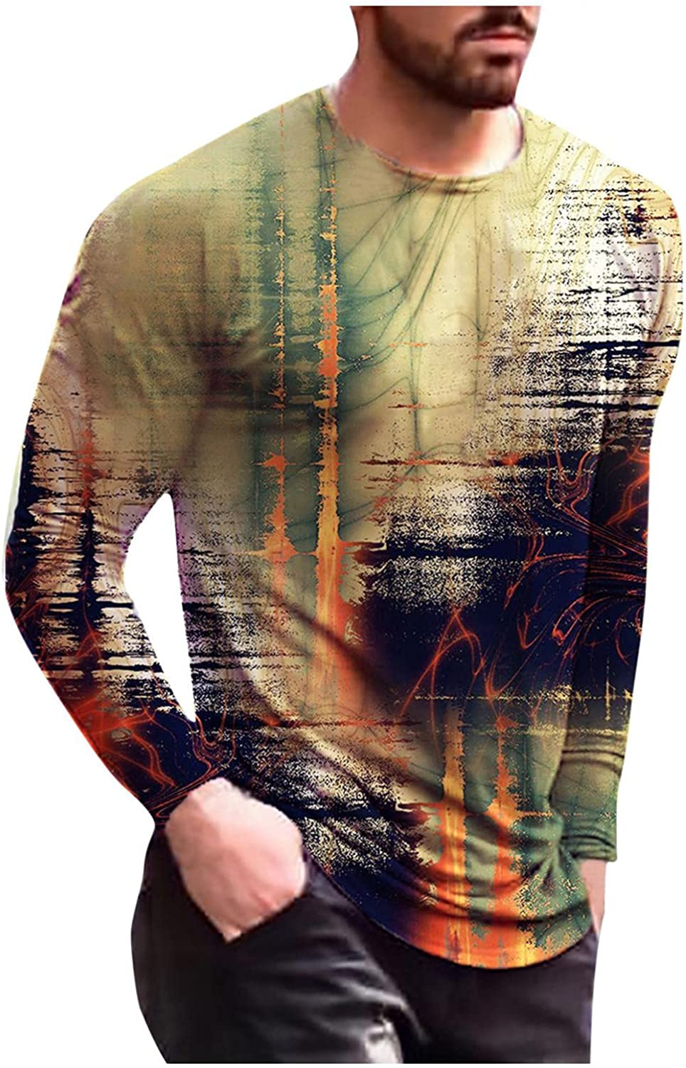 Aayomet T-Shirts for Men Abstract Graphic Long Sleeve Round Neck Sweatshirts Workout Sport Casual Tee Shirts Blouses Tops