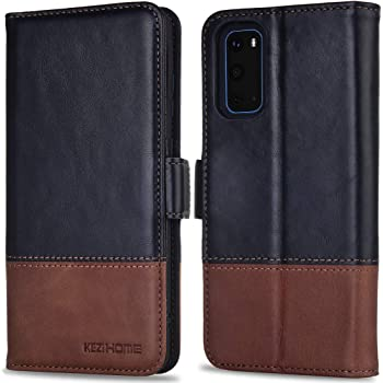 KEZiHOME Samsung Galaxy S20 Case/Galaxy S20 5G Case,[RFID Blocking] Genuine Leather Galaxy S20 Wallet Case Flip Cover with Card Slot Stand Function for Samsung Galaxy S20 6.2 inch (Black/Brown)
