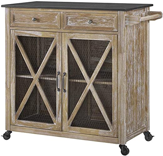 B07H1MFGGY✅Linon Kitchen Cart in Rustic Brown