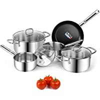 Viewee 8-Piece Nonstick Pots and Pans Cookware Sets with Lids