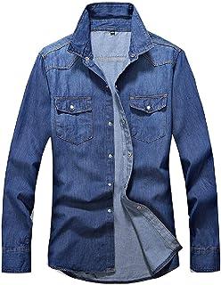 YYG Mens Casual Button Up Slim Long Sleeve Shirts Denim Shirt with Pockets