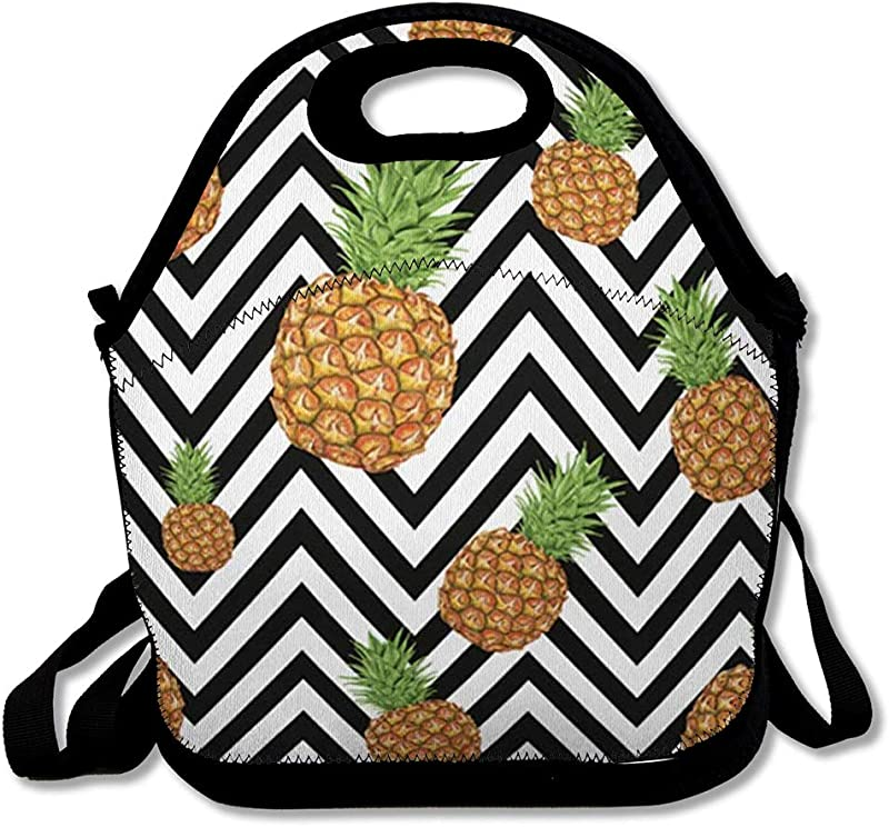 Lunch Bag For Women Men Holiday Beach Pineapple Pattern On Abstract Geometrical Aloha Green Black Brazil Bright Ethnic Fresh Reusable Insulated Lunch Tote With Zipper