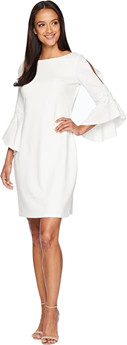 130H Luxe Tech Crepe Demi 3/4 Sleeve Day Dress