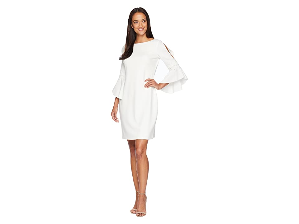LAUREN Ralph Lauren 130H Luxe Tech Crepe Demi 3/4 Sleeve Day Dress (Cream) Women