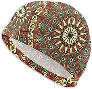 Smany Yellow Colorful Ethnic Arabesque Background Adult Swim Caps,High Elasticity, No Deformation Use,UV Protection, Waterproof Comfy Swimming Bathing Cap for Men and Women