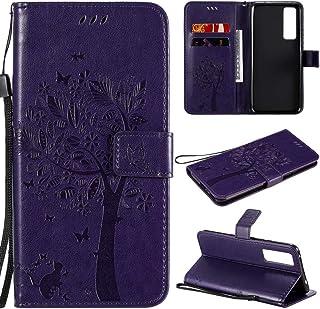 携帯電話保護ケース for Huawei Nova 7 Tree&Catエンボスパターンホリゾンタルフリップレザーケース、ホルダー&カードスロット&ウォレット&ストラップ付き 携帯電話シェル
