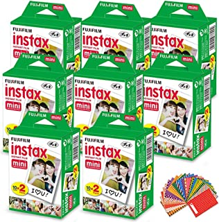 FujiFilm Instax Mini Instant Film 8 Pack (8 x 20) Total of 160 Sheets + 180 Assorted Colorful Mini Photo Stickers for FujiFilm Instax Mini 9 8 7 7s 90 70 50s 25 300 Instant Cameras