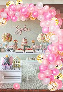 CADNLY Pink Balloons Garland Kit - 115-Piece White Pink and Gold Balloons for Pink Birthday Decorations Pastel Pink Baby Girl Balloon Arch for Princess Baby Shower Decorations Party Supplies