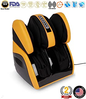 VITALZEN Plus® Massager for feet, Calves, Legs, Knees and Thighs – Yellow (2019 Model) - Compression-Air Massage-Rollers-Thermal-Heating-Kneading-Foot Reflexology - 2 Years Warranty GLOBAL RELAX® US