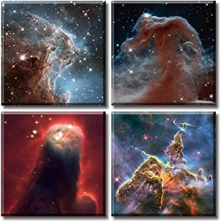 JiazuGo Nebula Galaxy Wall Art Painting Canvas Prints Panel Outer Space Starlight Modern Artwork Pictures Cosmic Astronomy...