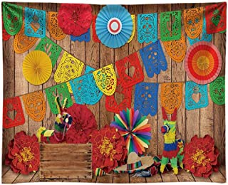 Funnytree 10x8FT Soft Fabric Mexican Fiesta Theme Photography Backdrop for Birthday Carnival Party Decoration Supplies Flo...