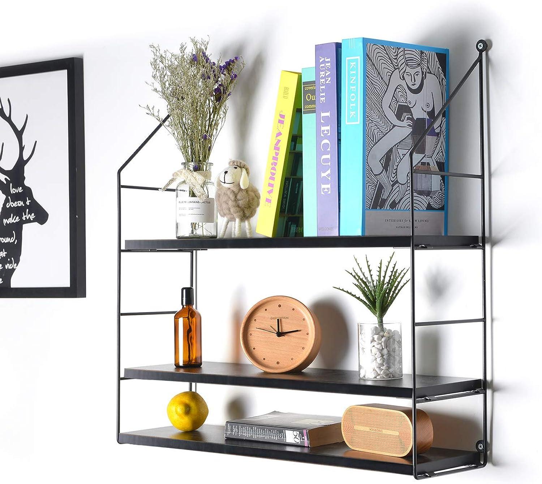 KINWELL Height Adjustable Wall Mounted Floating Display Iron Shelf 3-Tier Shelf for Bath Room Living Room