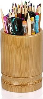 Pen Holder, Bamboo Wood Desk Pen Pencil Holder Stand Multi Purpose Use Pencil Cup Pot De Wood Desk Pen Pencil Holder Stand Multi Purpose Use Pencil Cup Pot Desk Organizersk Organizer (Circular)